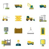 Construction Icons Flat Royalty Free Stock Photography