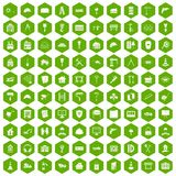 100 construction icons hexagon green. 100 construction icons set in green hexagon isolated vector illustration Stock Image