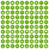 100 construction icons hexagon green. 100 construction icons set in green hexagon isolated vector illustration vector illustration