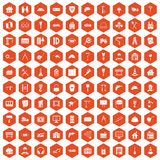 100 construction icons hexagon orange. 100 construction icons set in orange hexagon isolated vector illustration Stock Illustration