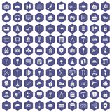 100 construction icons hexagon purple. 100 construction icons set in purple hexagon isolated vector illustration royalty free illustration