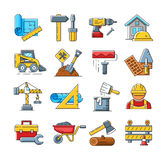 Construction icons or home repair tools signs in flat outline style Royalty Free Stock Photo