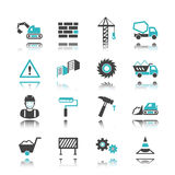 Construction icons with reflection Stock Photo