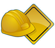 Construction icons with road sign and hardhat Stock Image