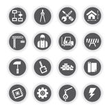 Construction icons, round buttons Stock Photography
