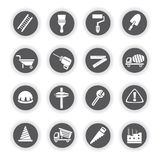 Construction icons, round buttons Royalty Free Stock Photography