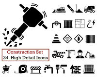 24 Construction Icons. Set of 24 Construction Icons in Black Color Royalty Free Stock Photos