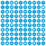 100 construction icons set blue. 100 construction icons set in blue hexagon isolated vector illustration Royalty Free Illustration