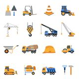 Construction Icons Set. With builder tools and vehicles isolated vector illustration Royalty Free Stock Photo