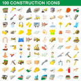 100 construction icons set, cartoon style Stock Photos