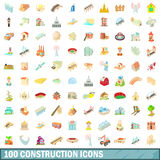 100 construction icons set, cartoon style. 100 construction icons set in cartoon style for any design vector illustration Stock Photography