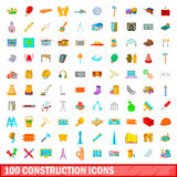 100 construction icons set, cartoon style. 100 construction icons set in cartoon style for any design vector illustration Royalty Free Stock Images