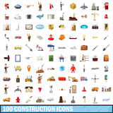 100 construction icons set, cartoon style. 100 construction icons set in cartoon style for any design vector illustration Stock Illustration