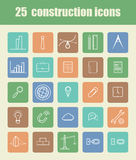 25 Construction icons. Set of flat design icons for construction. 25  icons Royalty Free Stock Photography