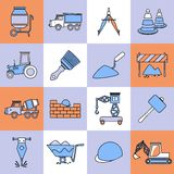 Construction icons set flat line Royalty Free Stock Photos