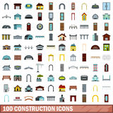 100 construction icons set, flat style. 100 construction icons set in flat style for any design vector illustration Royalty Free Illustration
