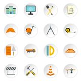 Construction icons set, flat style. Construction icons set. Flat illustration of 16 construction icons for web Royalty Free Illustration