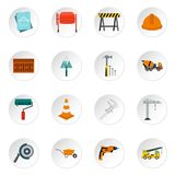 Construction icons set, flat style. Construction icons set. Flat illustration of 16 construction icons for web Stock Illustration