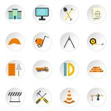 Construction icons set, flat style Royalty Free Stock Photography