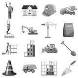 Construction icons set, gray monochrome style Stock Photo