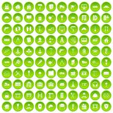 100 construction icons set green circle Royalty Free Stock Photography