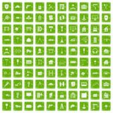 100 construction icons set grunge green. 100 construction icons set in grunge style green color isolated on white background vector illustration Royalty Free Stock Image