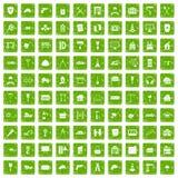 100 construction icons set grunge green. 100 construction icons set in grunge style green color isolated on white background vector illustration Stock Illustration