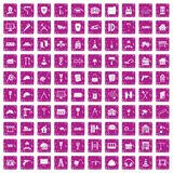 100 construction icons set grunge pink. 100 construction icons set in grunge style pink color isolated on white background vector illustration Royalty Free Stock Photos