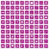 100 construction icons set grunge pink. 100 construction icons set in grunge style pink color isolated on white background vector illustration Vector Illustration