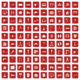 100 construction icons set grunge red Royalty Free Stock Photo