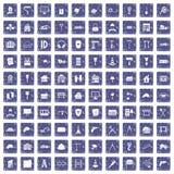 100 construction icons set grunge sapphire. 100 construction icons set in grunge style sapphire color isolated on white background vector illustration Vector Illustration