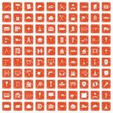 100 construction icons set grunge orange. 100 construction icons set in grunge style orange color isolated on white background vector illustration Stock Illustration