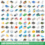 100 construction icons set, isometric 3d style Stock Photos
