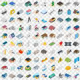 100 construction icons set, isometric 3d style Stock Photo