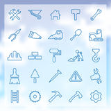 25 construction icons set. 25 outline, construction icons set Stock Photo