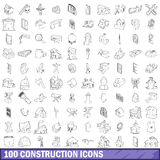 100 construction icons set, outline style. 100 construction icons set in outline style for any design vector illustration Royalty Free Illustration