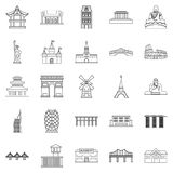 Construction icons set, outline style. Construction icons set. Outline set of 25 construction vector icons for web isolated on white background Royalty Free Stock Photography