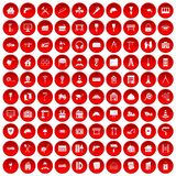 100 construction icons set red. 100 construction icons set in red circle isolated on white vector illustration Stock Images