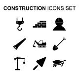 Construction icons set. Vector illustration. Construction icons set. Silhouette flat design vector illustration Royalty Free Stock Images