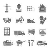 Construction Icons Set. Construction vehicles facilities and building tools black icons set isolated vector illustration Stock Photos