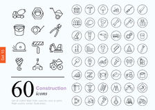 60 construction icons. Set of construction icons for web or services. 60 design repair line icons high quality, vector illustration Royalty Free Stock Image