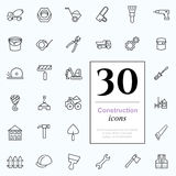 30 construction icons. Set of construction icons for web or services. 30 design repair line icons high quality, vector illustration Stock Photos