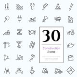 30 construction icons. Set of construction icons for web or services. 30 design repair line icons high quality, vector illustration Royalty Free Stock Photo