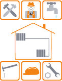 Construction icons. Icons on the theme of construction, repair, and construction work Stock Illustration
