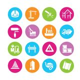 Construction icons. Construction tools and engineering icons in colorful round buttons Stock Photos