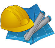 Construction icons withblueprints and hardhat. Detailed image of blue prints boot and hard hat