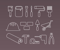 Construction icons, working tools and equipment Stock Photos