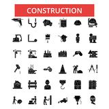 Construction illustration, thin line icons, linear flat signs, vector symbols royalty free illustration