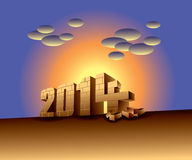 2014 illustrated with bricks Stock Image