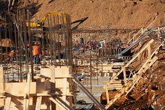 Construction of an industrial building. Deep foundation pit Stock Images